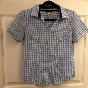 Basic editions S blue check shirt sleeve button up
